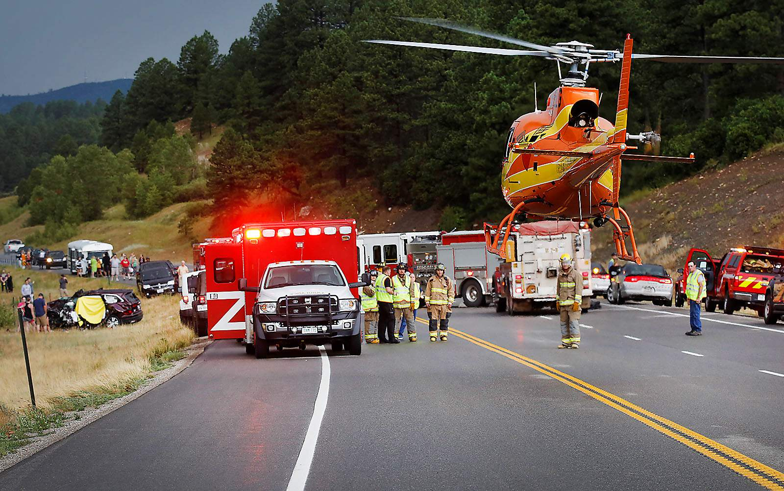 Two people died in a two-car, head-on crash Thursday on...